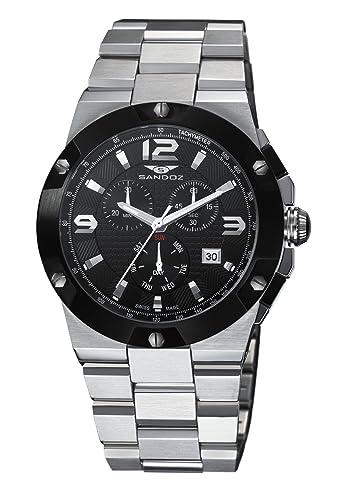 Sandoz 81285-55 - Reloj de Caballero de Cuarzo, Correa de Acero Inoxidable Color Plata: Amazon.es: Relojes