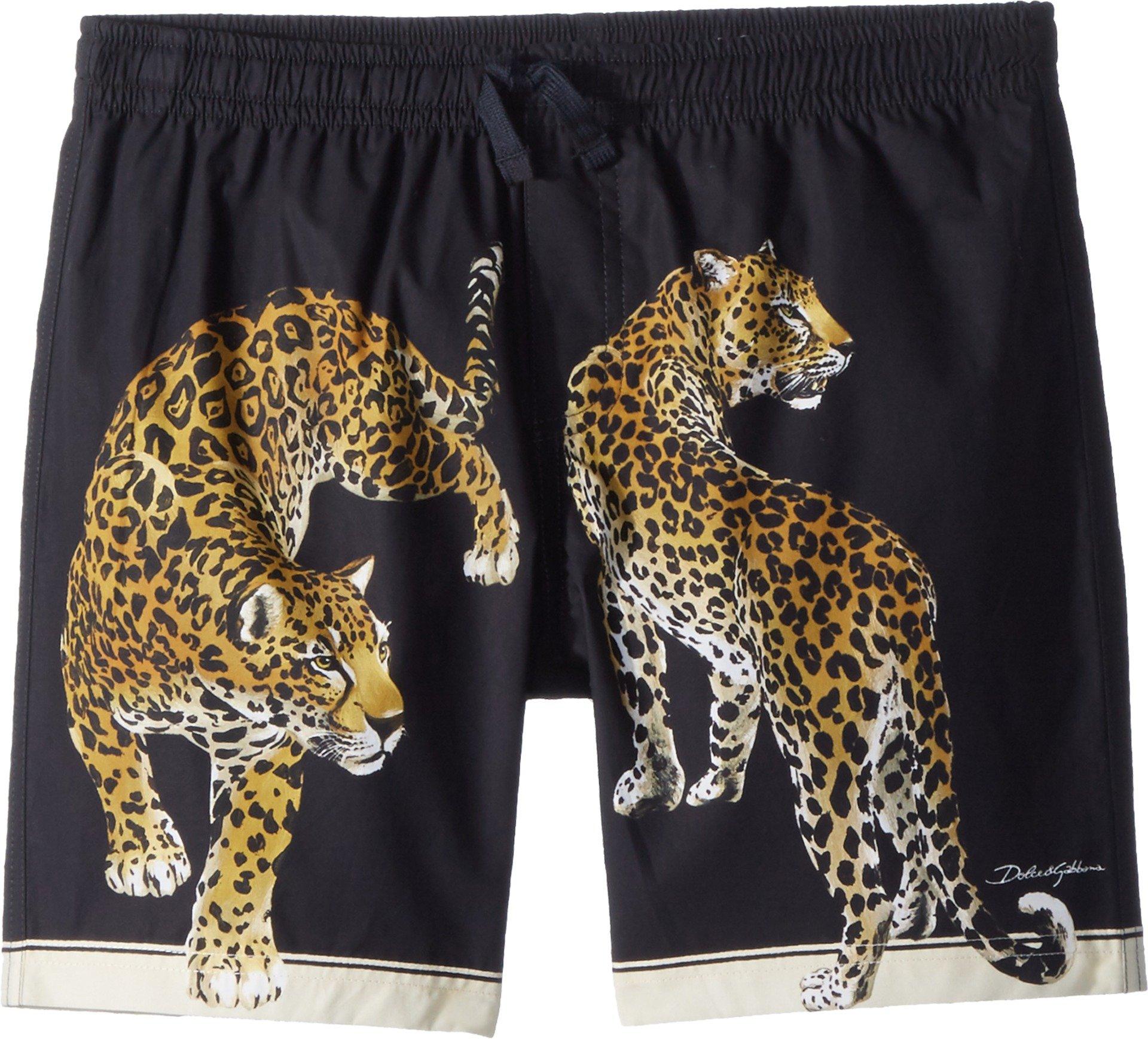 Dolce & Gabbana Kids Boy's Shorts (Big Kids) Black Leopard Print 8