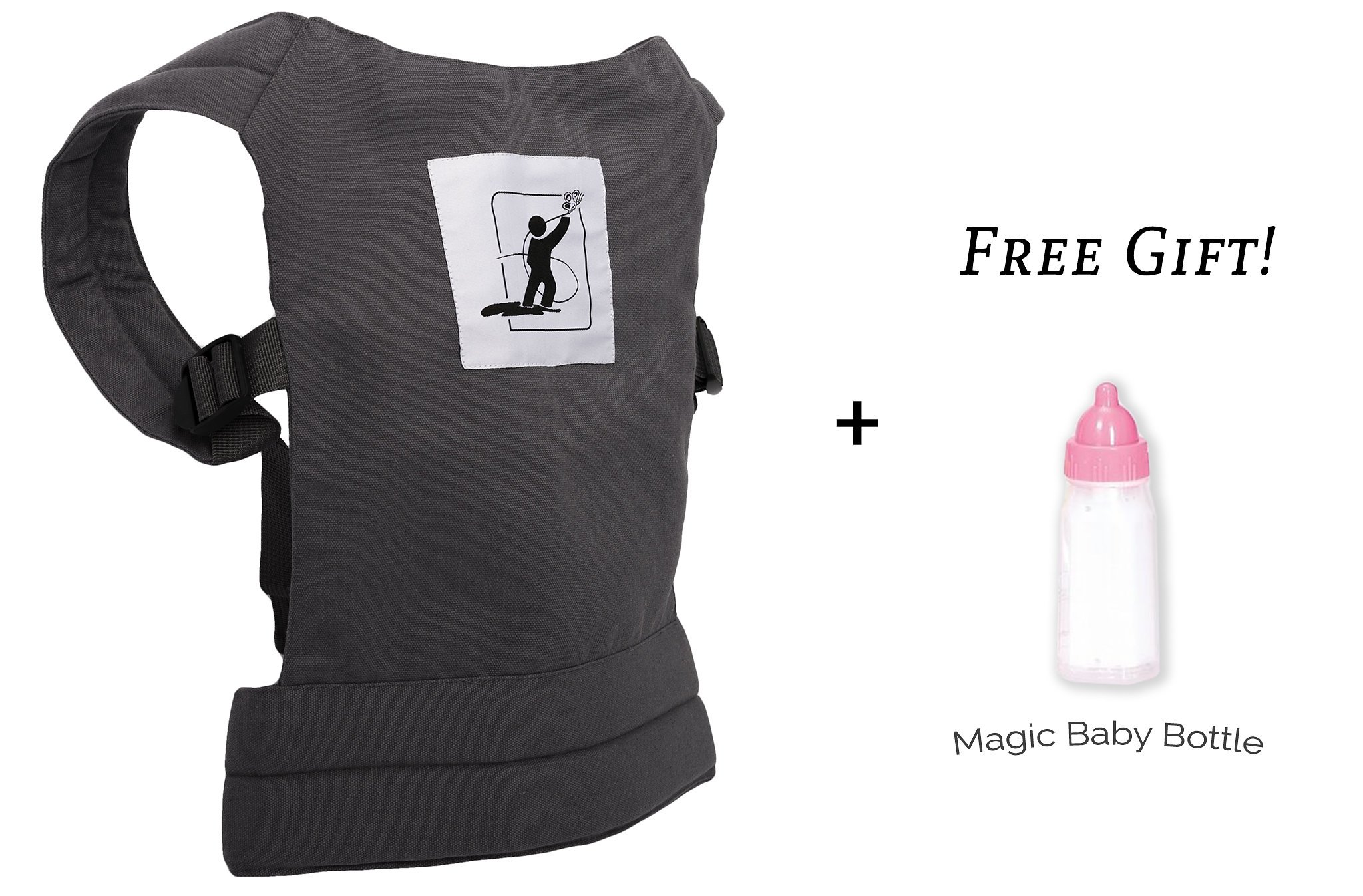 """Baby Doll Carrier for Kids, Toddlers, Girls- Baby Doll Carrier Back Pack- Front Snuggle Carrier-Soft Baby Doll Carrier- Baby Doll Travel Carrier -Free """"Magic"""" Baby Bottle."""