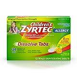 Children's Zyrtec 24 Hour Dissolving Allergy Relief Tablets with Cetirizine, Citrus Flavored Allergy Medicine, 12 ct