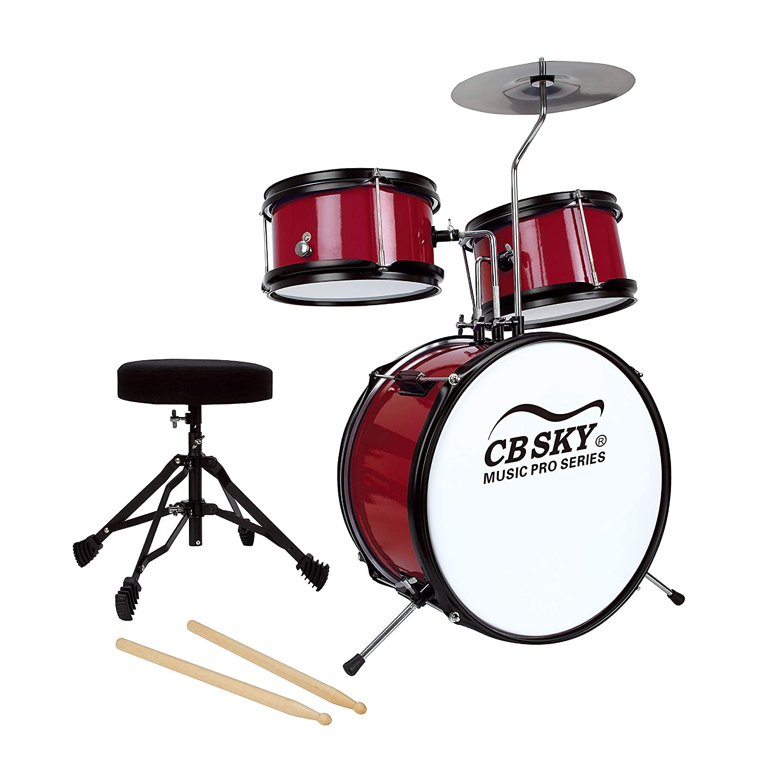 CB Sky 5-piece Junior Drum Set(RED), Kids Percussion Instrument/Kids Musical Toys/Kids Musical Instrument MD318R
