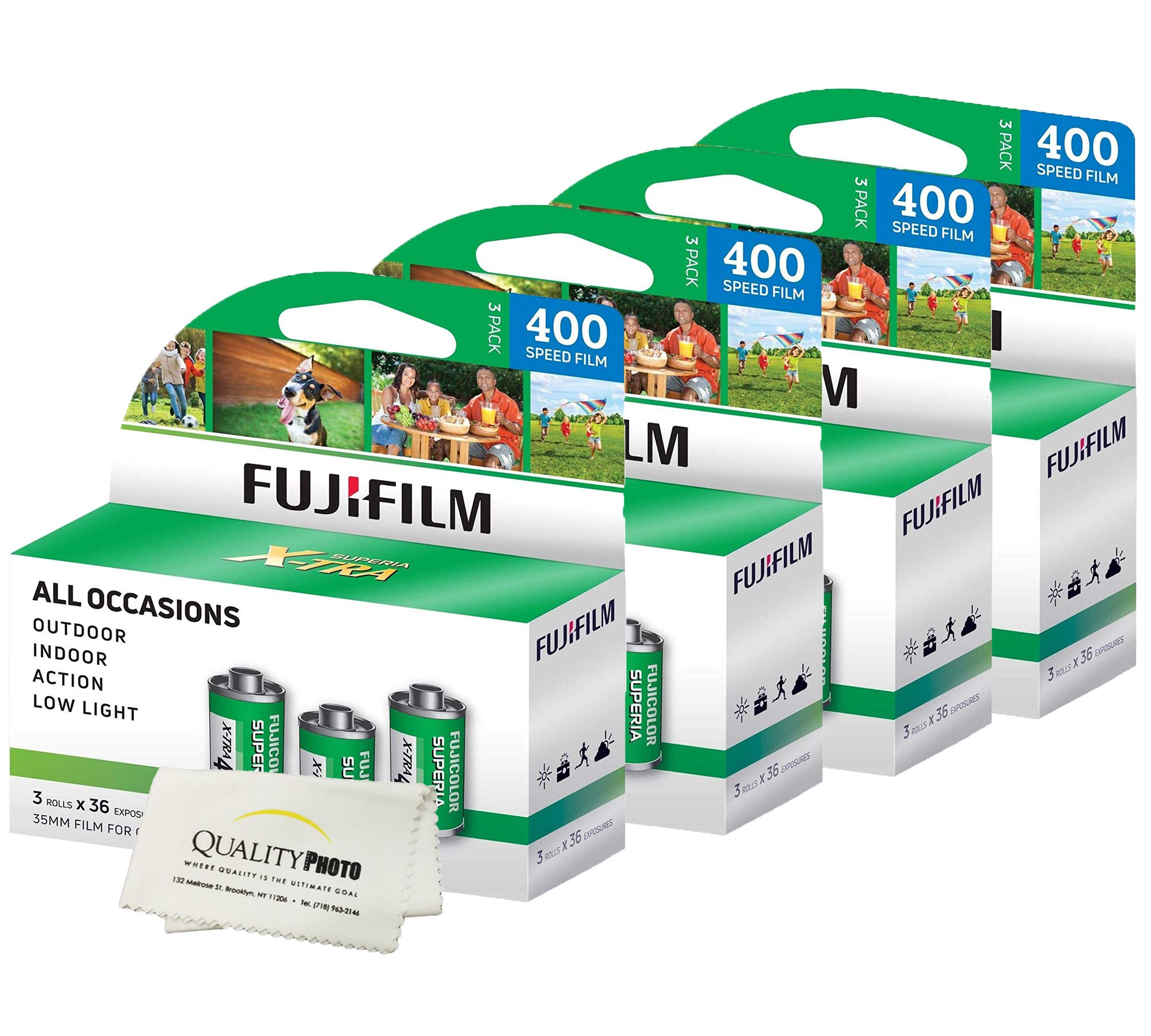 Fuji Superia X-TRA 3 Pack ISO 400 36 Exp. 35mm Film, Total 108 Exposures (4 Pack) + Quality Photo Ultra Soft Microfiber Cloth