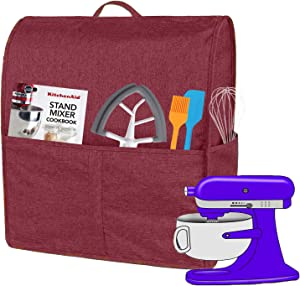 Dust Cover with 6-8 Quart KitchenAid Mixers, Cloth Cover with Pockets for KitchenAid Mixers and Extra Accessories (Fits for 6-8 Quart, Wine Red)