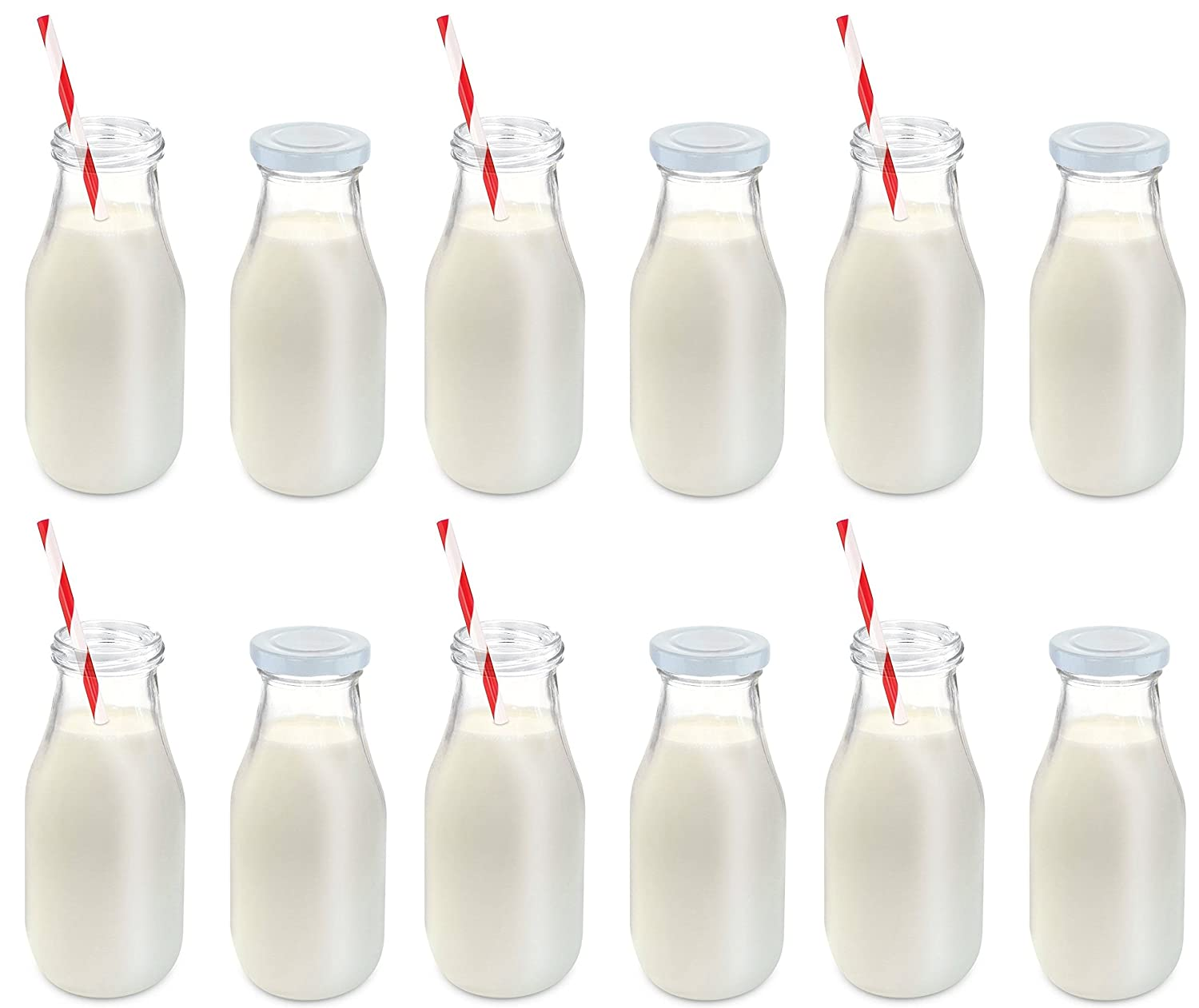 Set Of 12 Glass Milk Bottle Includes Reusable Lids And