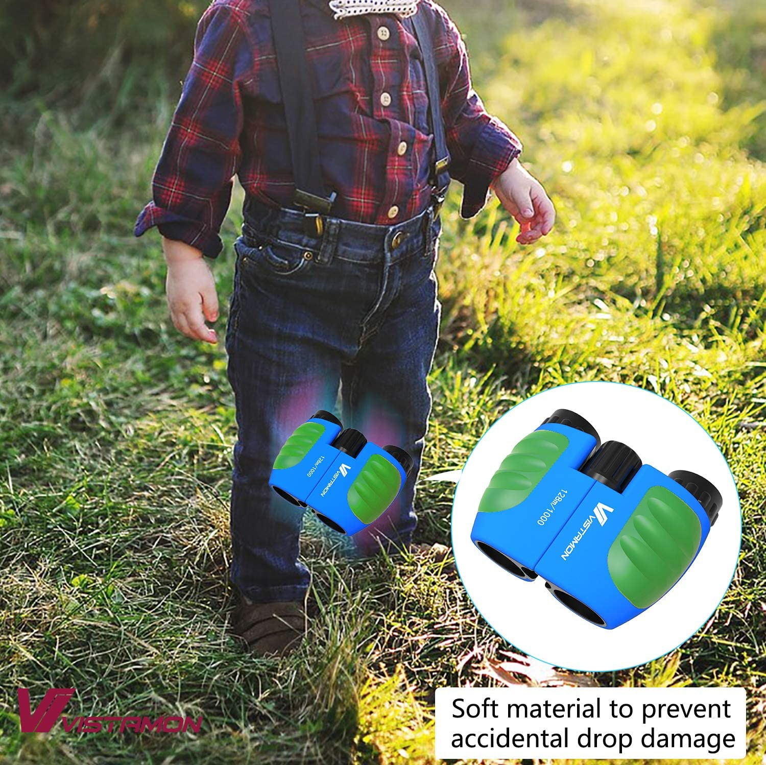 Compact Shock Proof Binoculars for Kids 8x21 with High-Resolution Real Optics Best Gift for Boys /& Girls Toys 3-12 Year Old