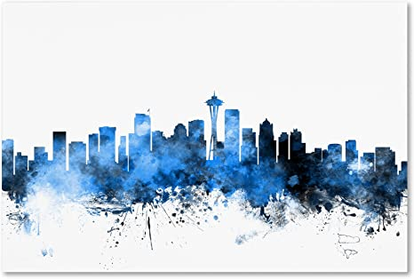 Amazon Com Seattle Washington Skyline Ii By Michael Tompsett 22x32 Inch Canvas Wall Art Posters Prints