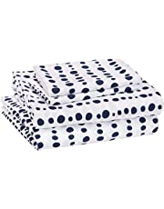 AmazonBasics Juego de sábanas, microfibra suave y fácil de lavar, infantil, matrimonial, rayas azules punteadas