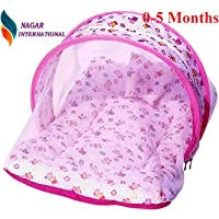 Nagar International Baby Luxury and High Quality Bedding Mattress Set with Mosquito Net in Cotton Fabric (ABCD Pink, 0-5 Months)