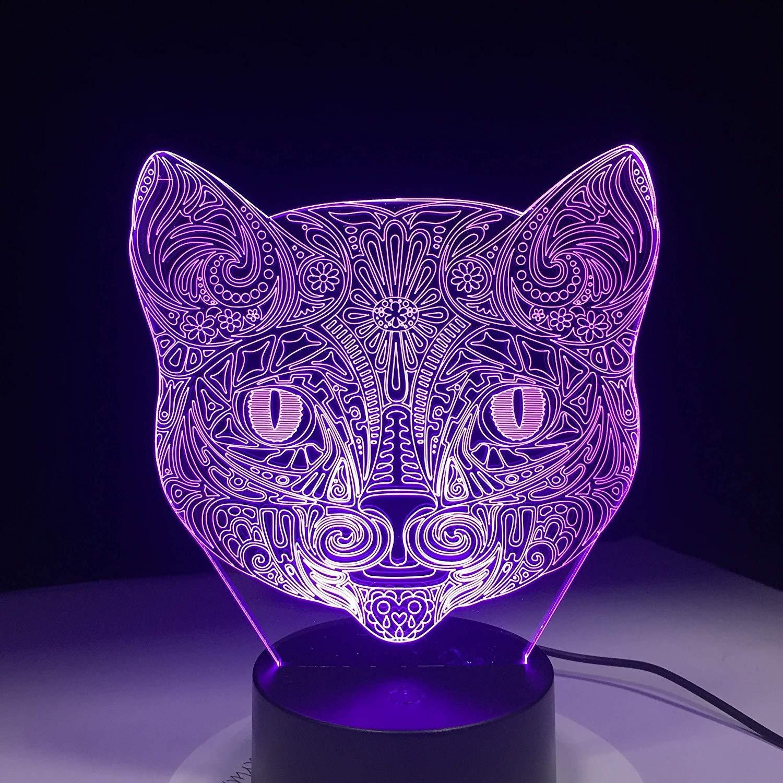 FERZA Home Katze Gesicht 3D Visuelle Lampe Optische Täuschung Führte Nachtlicht Erstaunliche 7 Farben Kunst Katze Kopf Berührungsempfindliche Schalter Lampe