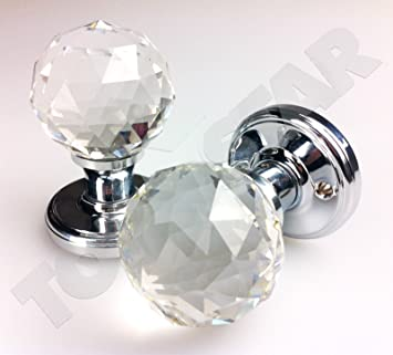 Amazon.com: Crystal Style LARGE Ball Pair Glass Door Knobs 60mm ...