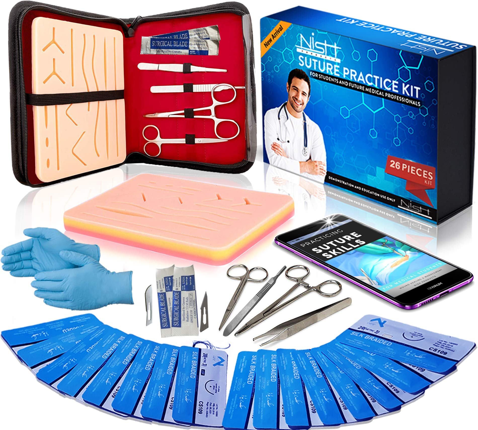 Suture Practice Kit for Medical Dental Vet Training Students, Including Mini Silicone Pad with Sutures and Suture Needles - Ebook for Training by Nish Products
