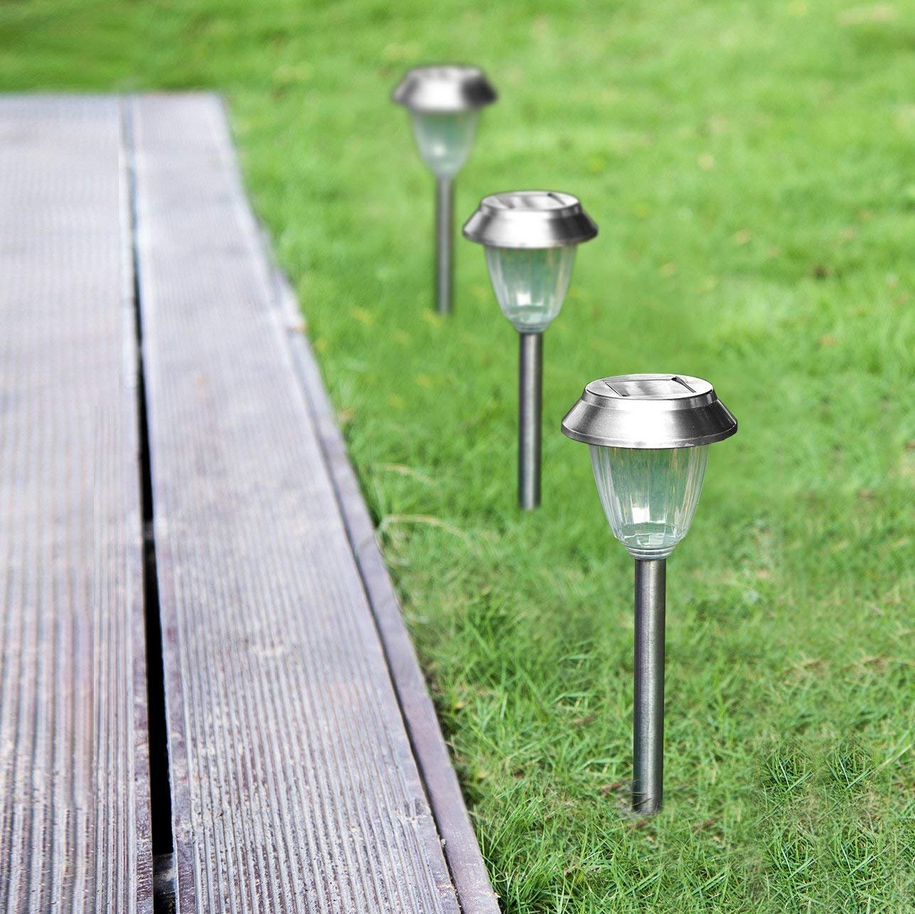 Solar Pathways Lights Makes Garden Path & Flower Beds Look Great; Drunze 4PCS Stainless Steel Patio Lighting, Easy NO-WIRE Installation;Any-Weather/Water-Resistant