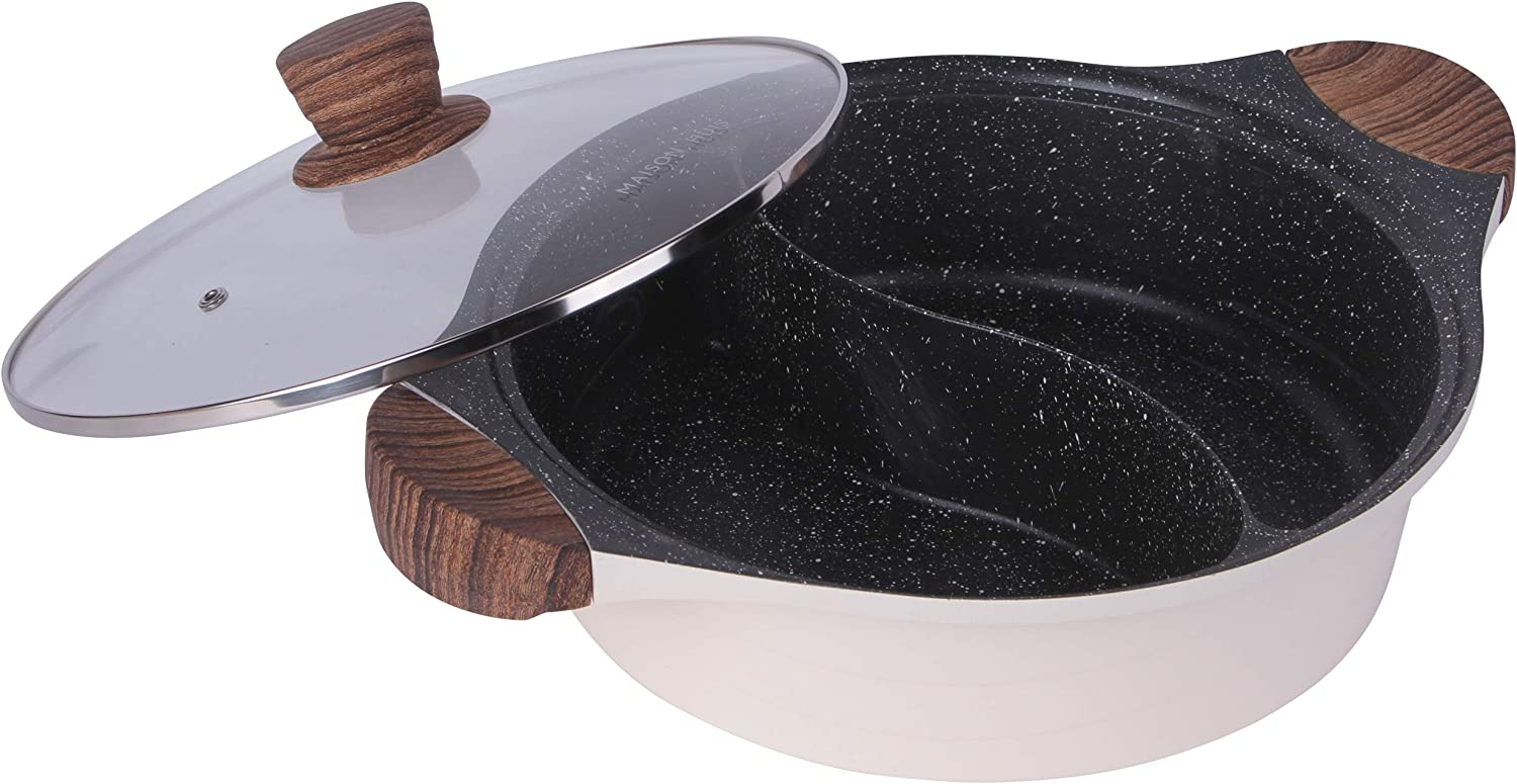 MAISON HUIS Double-Flavor Die Cast Alum Hot Pot, with Divider and Glass Lid, Chinese Induction Shabu Shabu Pot with Nonstick Granite Coating,for Kitchen Cooker,Gas Stove,Food Party 11