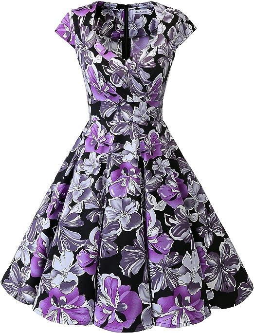 TALLA S. Bbonlinedress Vestido Corto Mujer Retro Años 50 Vintage Escote En Pico Black Purple Flower S