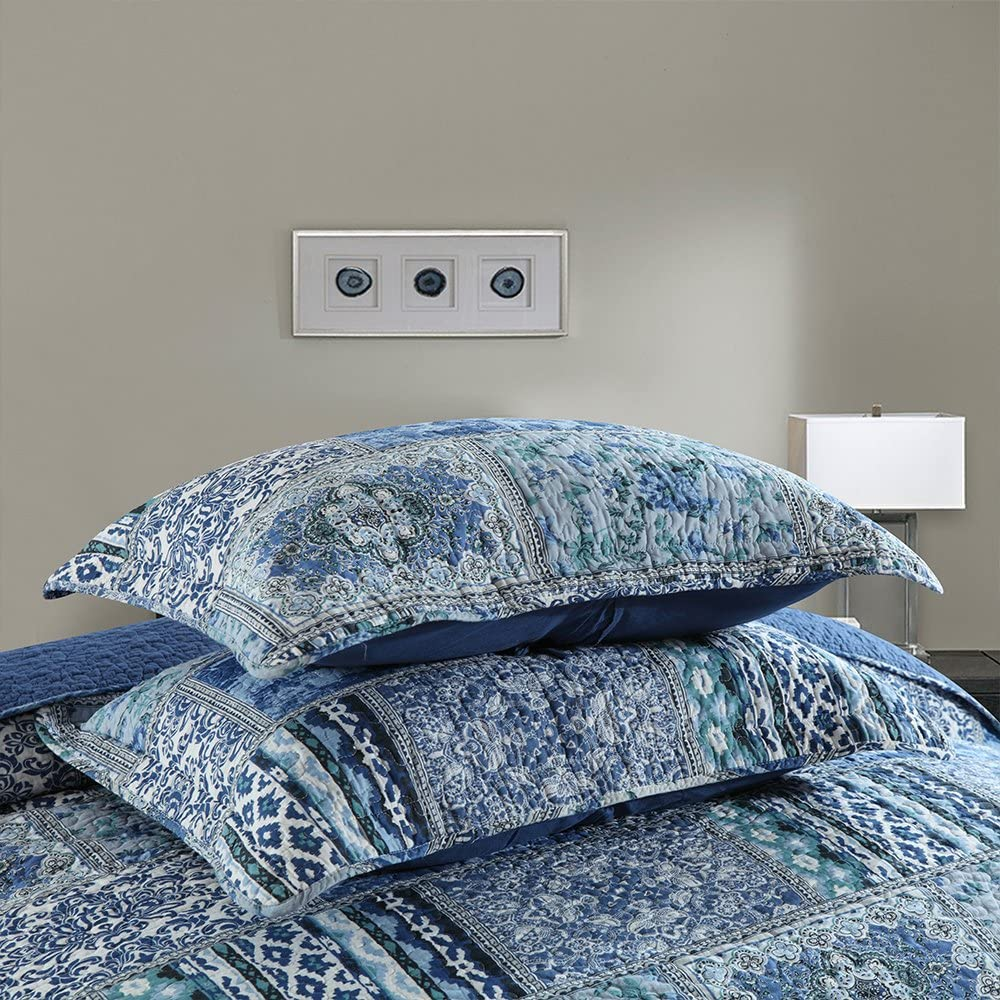 Blue Classic Bohemian Pattern,Queen Size NEWLAKE Cotton Bedspread Quilt Sets-Reversible Patchwork Coverlet Set