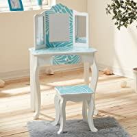 Mesa de tocador azul de madera con espejo