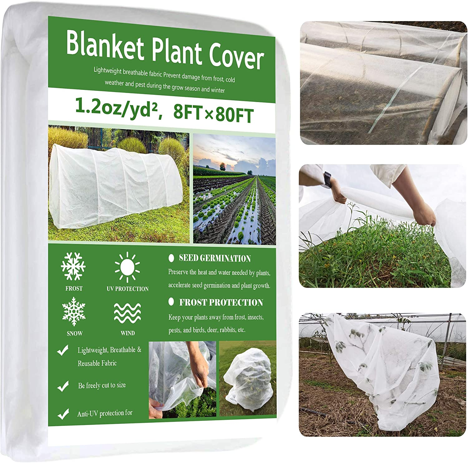 Garden EXPERT Plant Covers Freeze Protection Floating Row Cover Thickened 1.2oz Fabric Frost Cloth Plant Blanket for Plants & Vegetables in Winter(8FTx80FT)