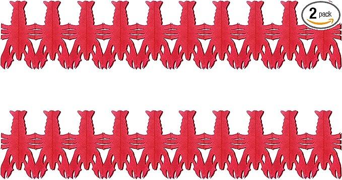 """Beistle Crawfish Garland, 2 Piece, 9"""" x 14', Red"""
