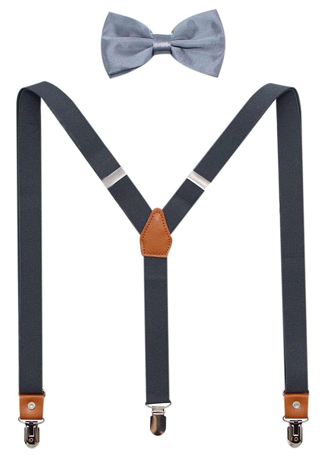 Casual And Formal Suspenders And Pre-Tied Bowtie Set For Boys And Men By JAIFEI