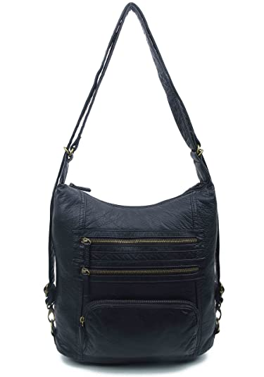 2c3cabebc Vegan Leather Convertible Backpack & Crossbody Purse by Ampere Creations  (Black)