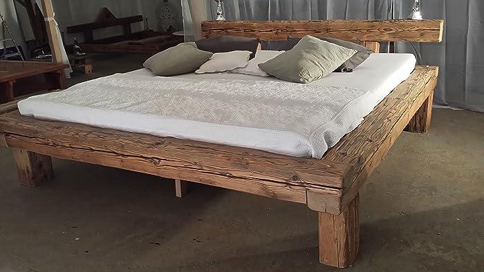 Balkenbett altholz  Altholz-Balkenbett 180 x 200 cm: Amazon.de: Handmade