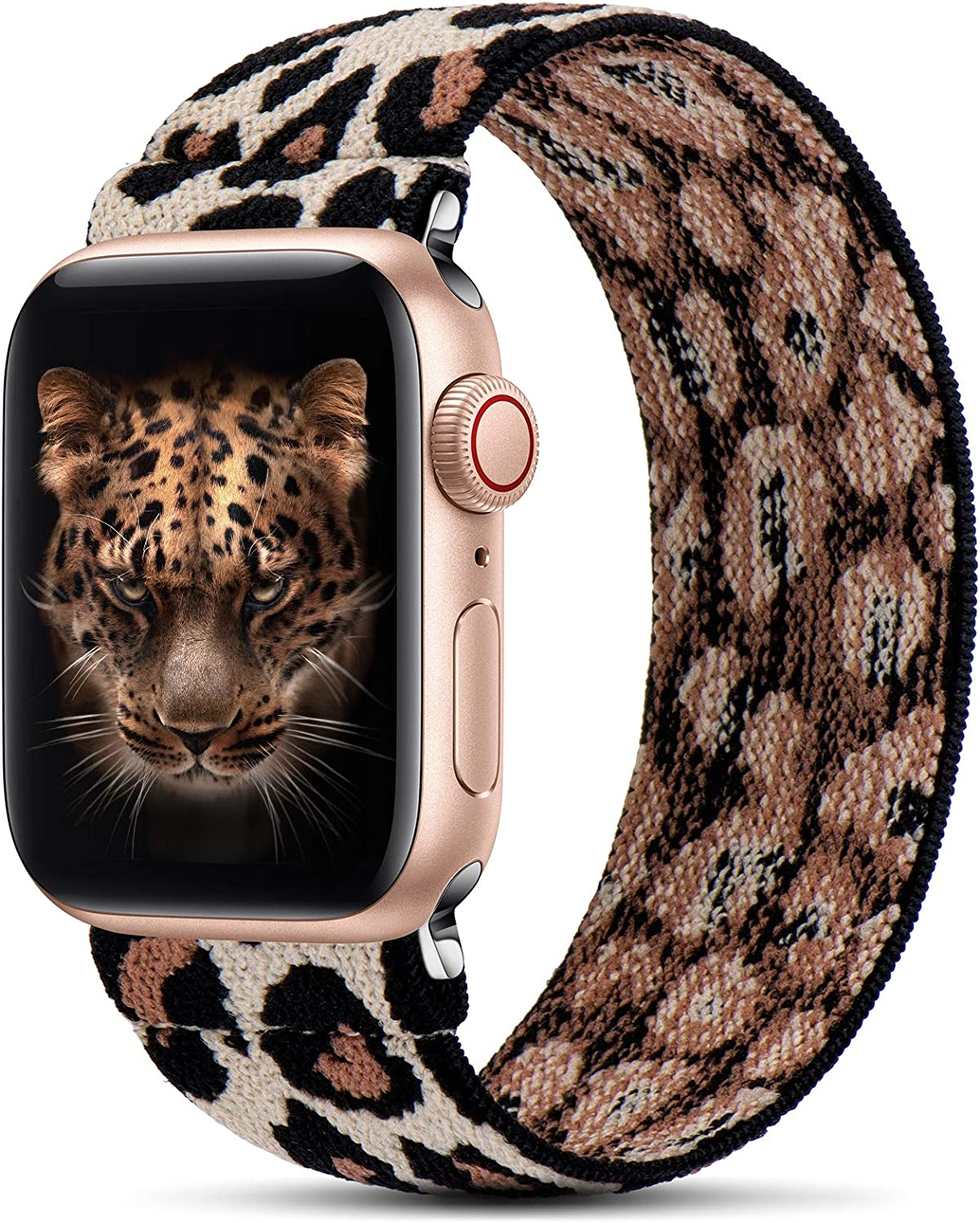 GeekSpark Elastic Band Compatible for Apple Watch Bands 38mm 40mm 42mm 44mm Stretchy Loop Strap Replacement Wristband for iwatch Series 6/SE/5/4/3/2/1 (Leopard S/M 38mm/40mm)