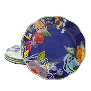 Pioneer Woman Celia Blue 8.75 Salad Plates Accent Plate Set of 4