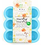Mushy Mushy Baby Food Storage, 9 Easy To Remove Pots, Durable Silicone Freezer Trays with Recipe eBook, Great Container For Weaning (Blue)