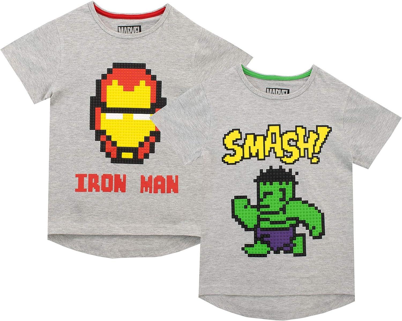 Marvel Pack de Dos Camisetas de Manga Corta para niños Iron Man y ...