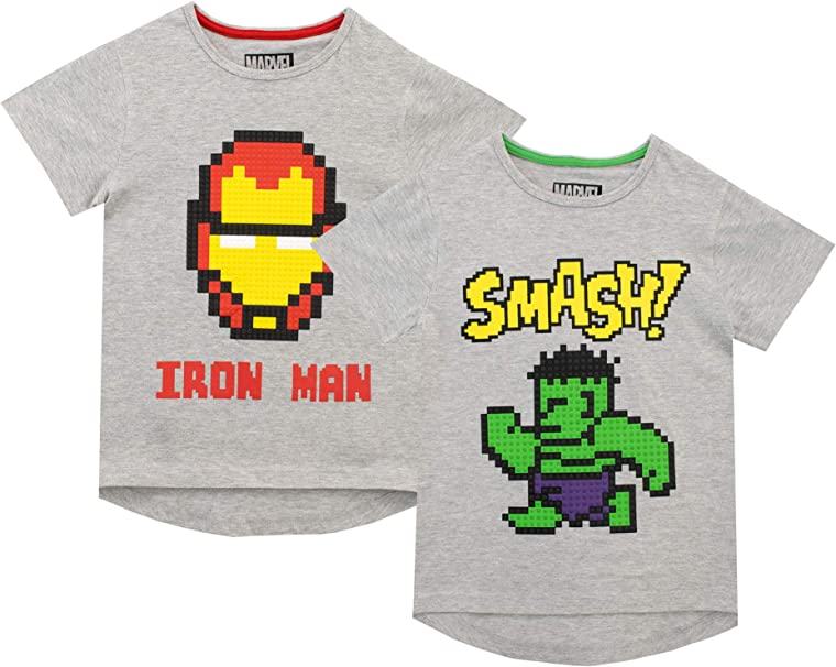 Marvel Pack de Dos Camisetas de Manga Corta para niños Iron Man y Hulk: Amazon.es: Ropa y accesorios