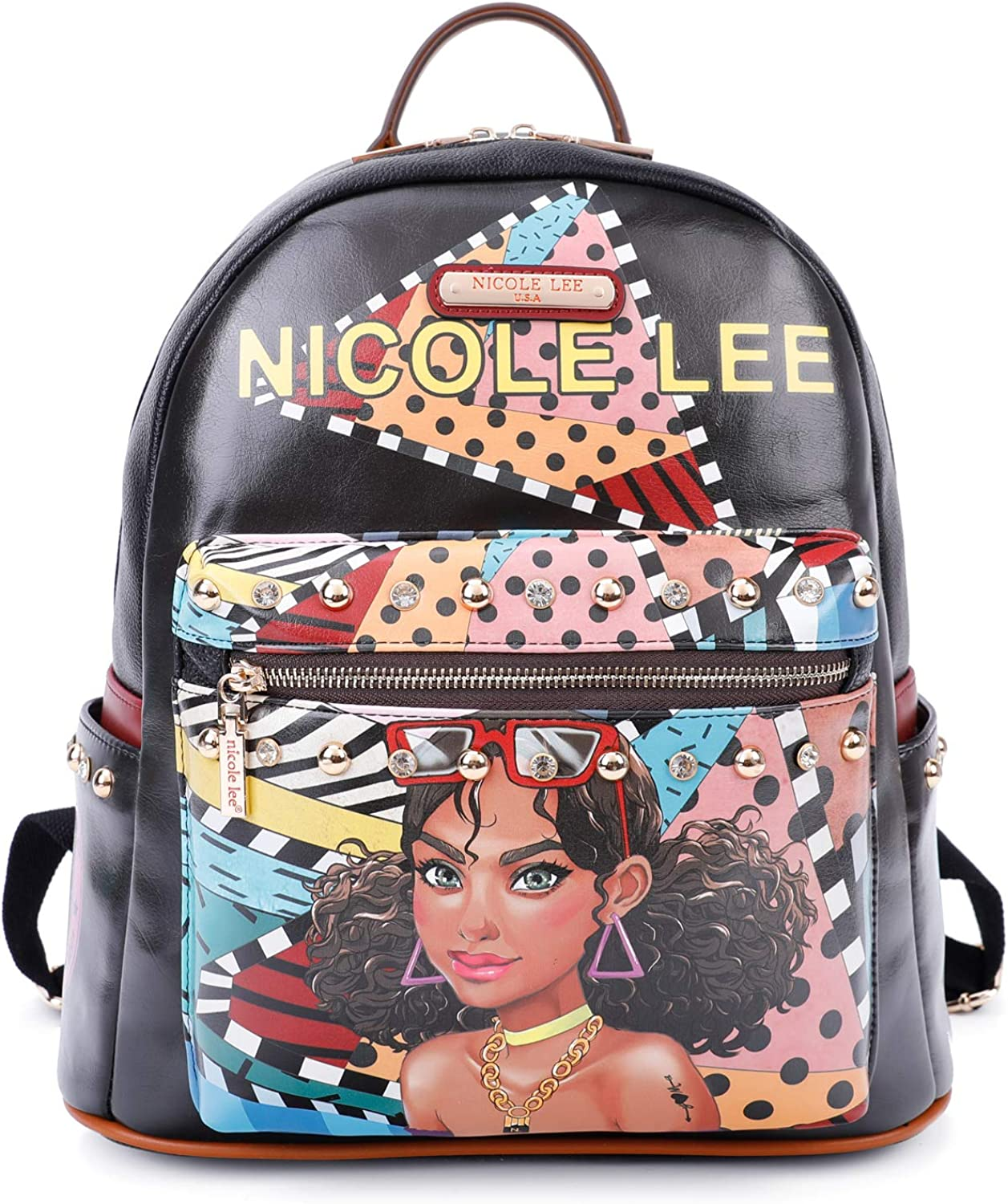 Women's Spacious Colorful Print Fashion Backpack, Adjustable Shoulder Pads