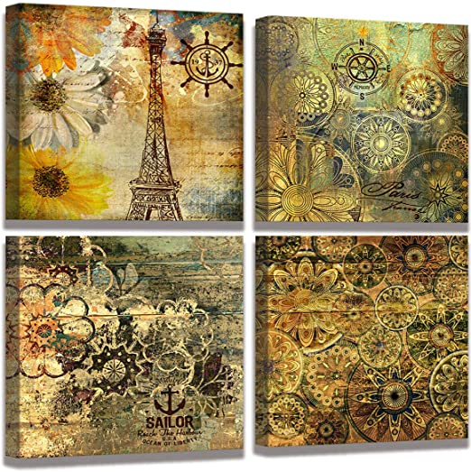 Vintage Canvas Wall Art Retro Flower Pattern Decor Bedroom Bathroom Wall Decor Modern Decorative Design Rustic Style For Home Office Living Room Decoration 12 X 12 X 4 Pieces Posters Prints