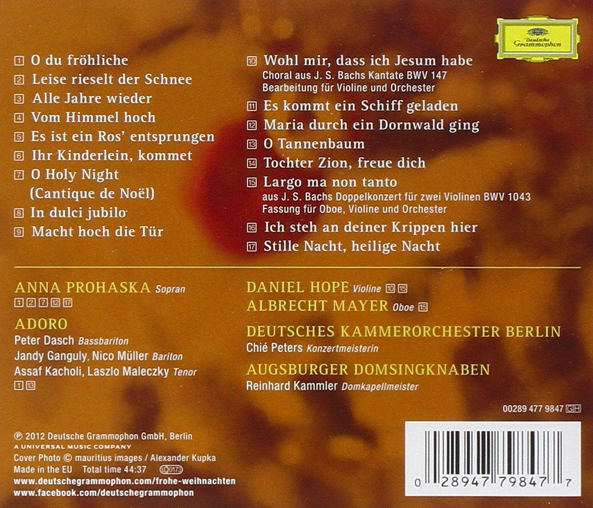 Frohe Weihnachten Berlin.Prohaska Hope Berlin Chamber Orch Kammler Reinhard Kammler