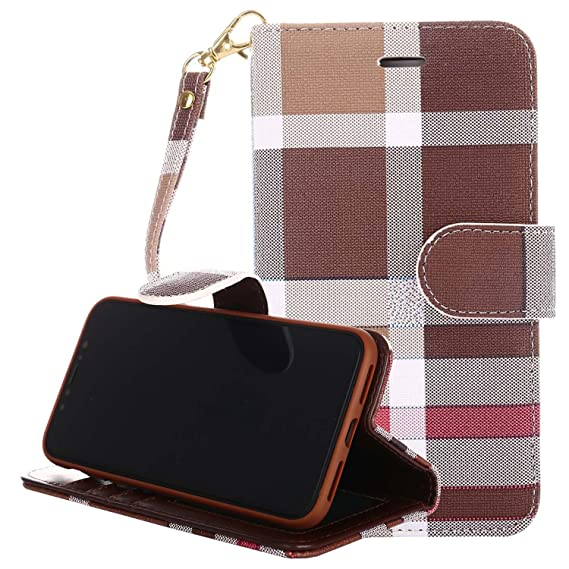 4ebaf311721 iPhone Xs MAX Leather Phone Case,GX-LV iPhone Xs MAX Luxury Plaid Pattern  Leather Wallet Flip Folio Case Cover with Kickstand,Card Holder Slot for ...