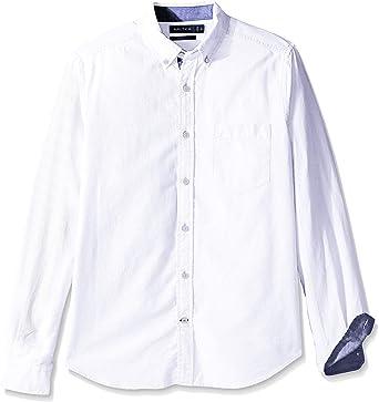 Nautica - Camisa de manga larga para hombre con botones en el cuello estilo Oxford.: Amazon.es: Ropa y accesorios