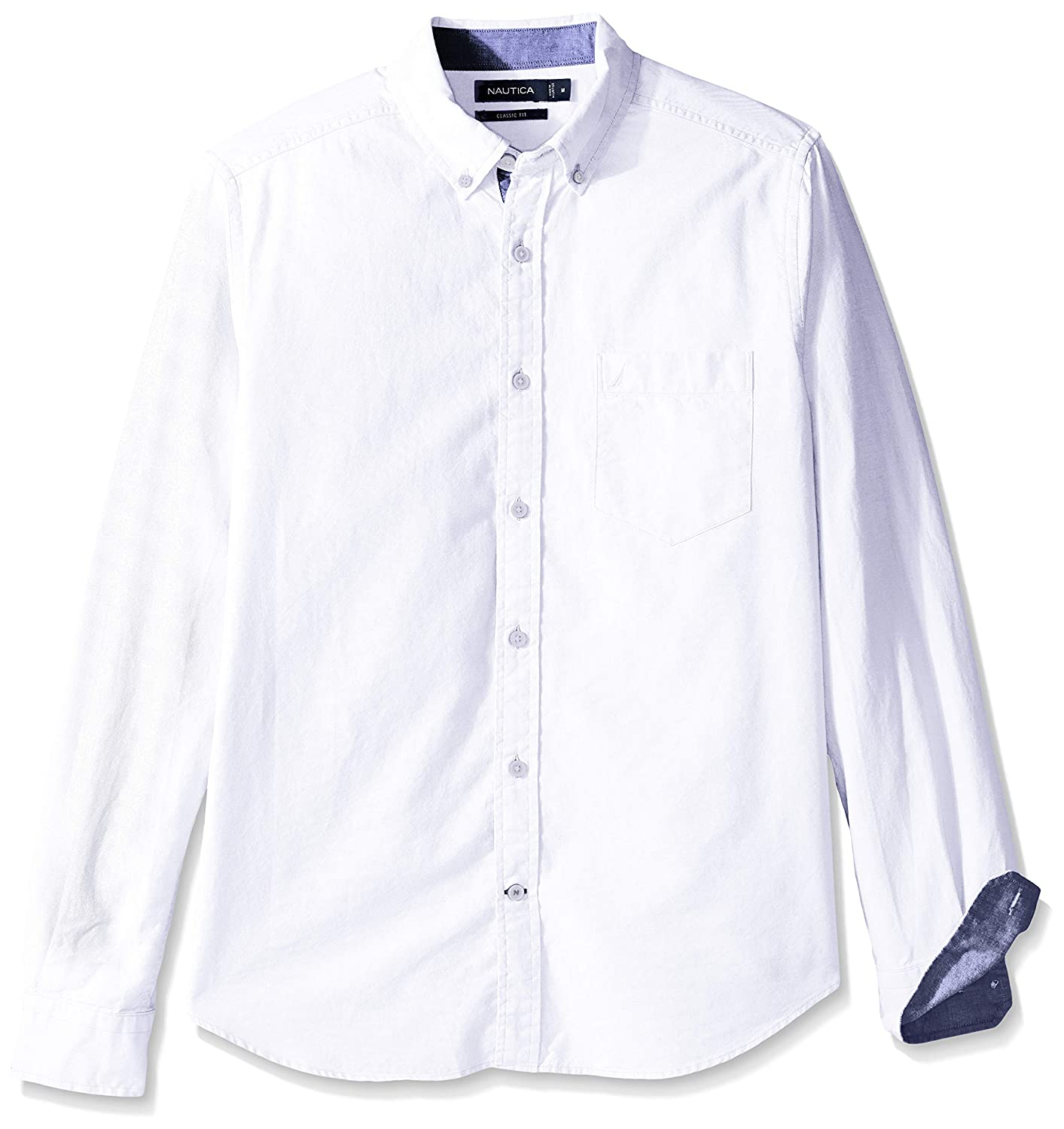 Nautica Mens Long Sleeve Solid Oxford Shirt, Bright White, X ...
