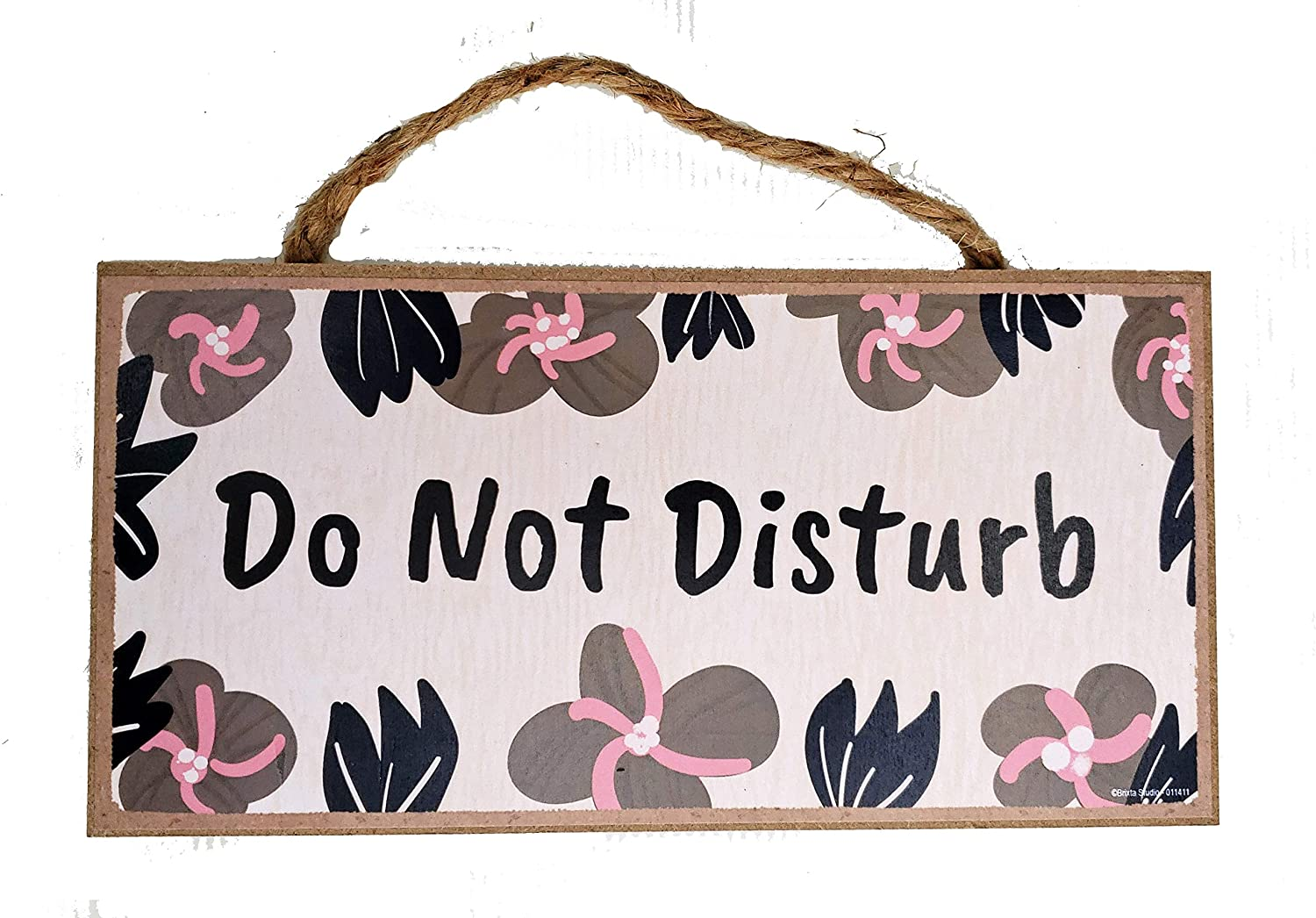 Brixta Studio Floral Do Not Disturb Door Sign - Hanging Wooden Wall Art Decor - 10 x 5 Inches