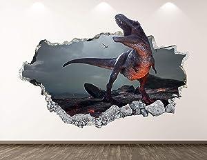 "West Mountain Dinosaur Wall Decal Art Decor 3D Smashed Volcano Sticker Mural Custom Gift BL113 (22"" W x 14"" H)"