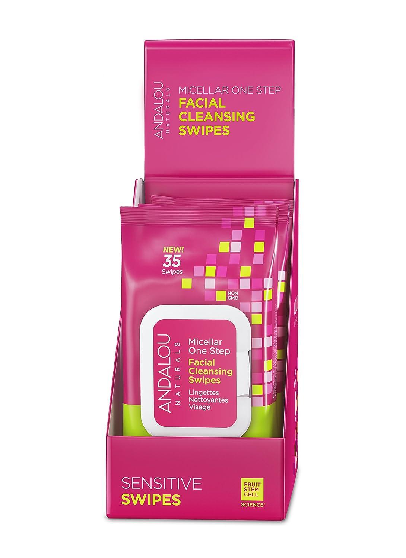 Andalou Naturals Age Defying Micellar Facial Swipes, Sensitive, 35 Count (Pack of 3)