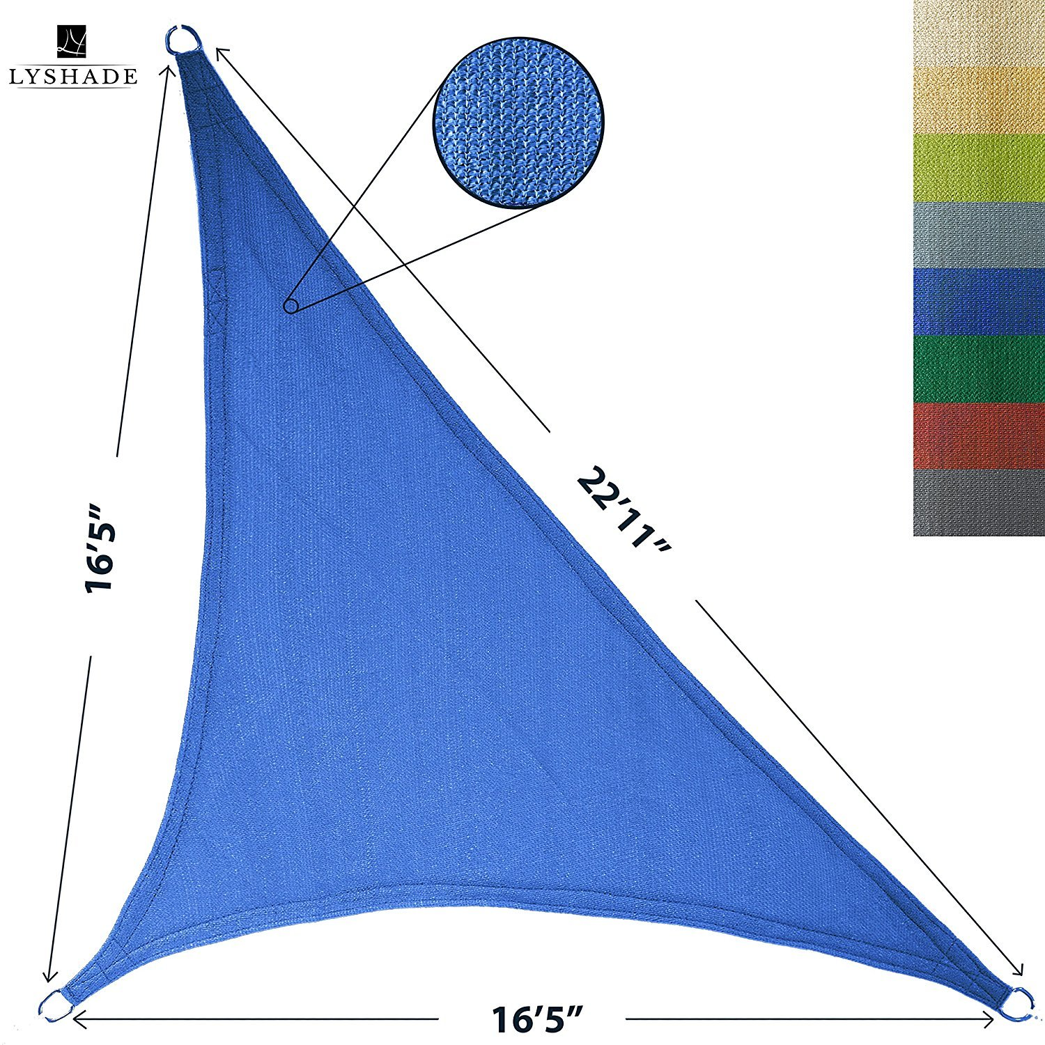 LyShade 12' x 12' x 17' Right Triangle Sun Shade Sail Canopy (Blue) - UV Block for Patio and Outdoor by LyShade