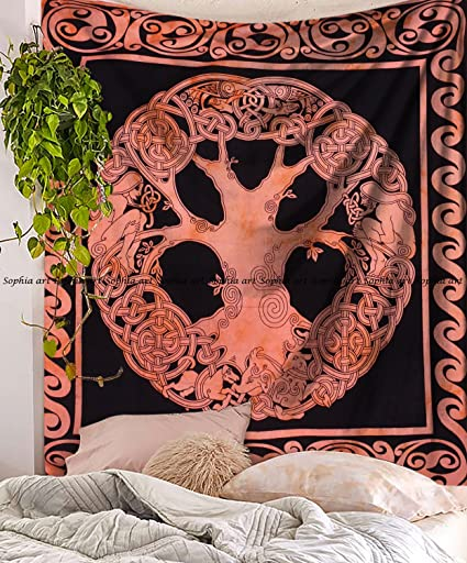 Tree OF Life Mandala Tapestry Wall Hanging Bohemian Hippie Bedspread Bed Cover