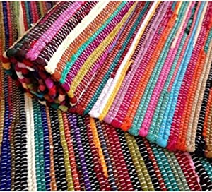 Indian Hand Woven Chindi Reversible Rug Decorative Floor Mat Entryway Living Room Bedrooms Laundry Room Decor Multi Color Assorted 4x6'