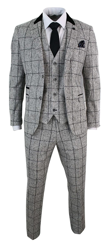 e691989d286d Amazon.com  Mens Tweed Light Grey Black Check Herringbone Tweed Style Vintage  Retro 3 Piece Suit  Clothing