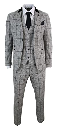 Amazon Com Mens Tweed Light Grey Black Check Herringbone Tweed