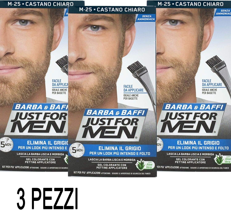 Just For Men - Barba y bigote - Tintura color permanente con pincel, sin amoniaco - Color castaño claro M-25 - Cantidad 2 x 14 ml - 3 Unidades