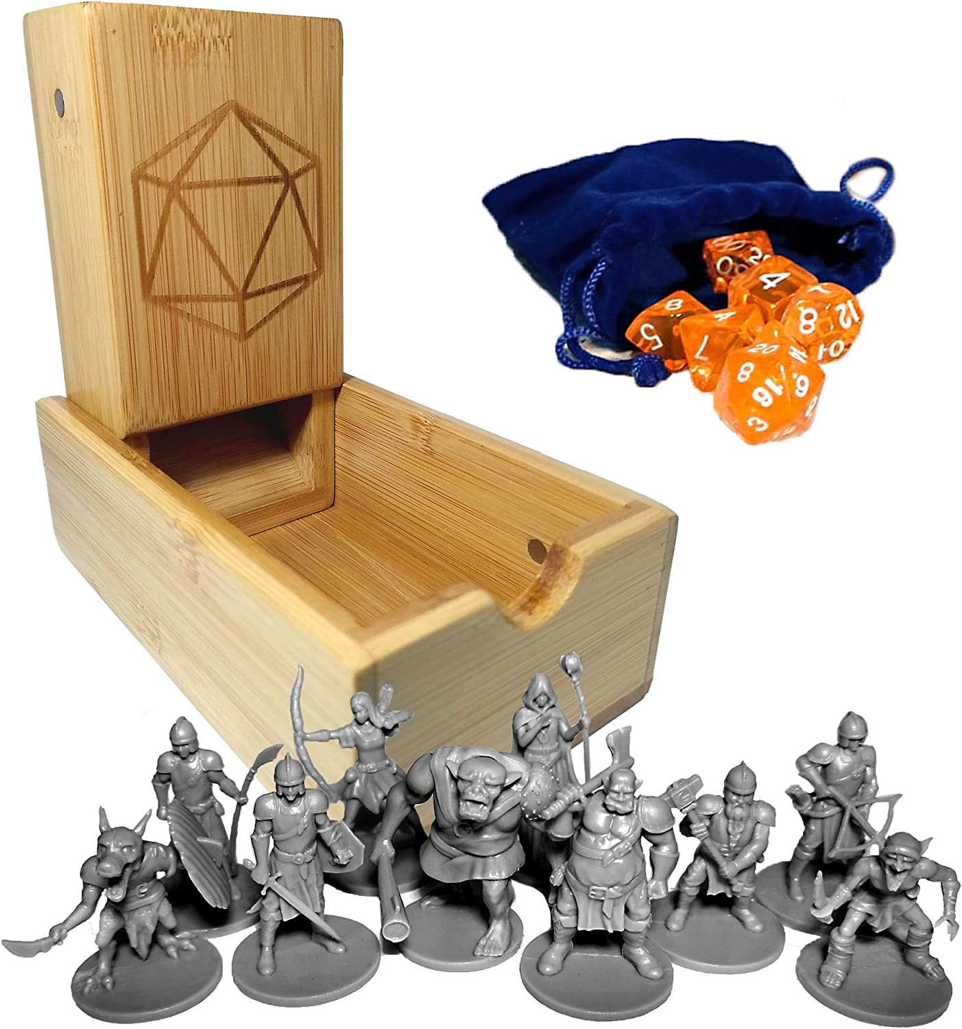 Dice Set with Velvet Bag and Other Tabletop Games Compatible with Dungeons and Dragons Pathfinder 10 Tabletop Minis Bamboo Dice Tower DND Gift Set