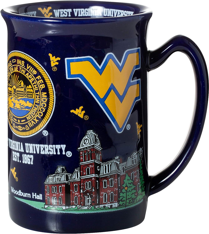 West Virginia University Dark Blue Souvenir Raised Coffee Mug
