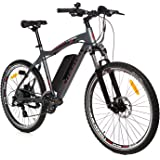 """Moma Bikes Bicicleta Electrica, Montaña  EMTB-26 """", Alu. SHIMANO 24V, Doble Freno Disco, Susp Delan. Bat. Ion Litio 36V 16Ah"""