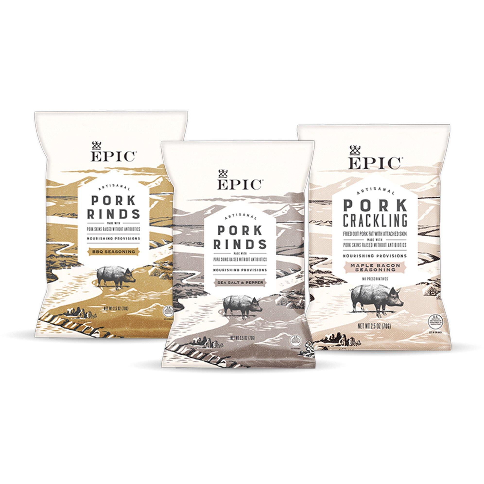 EPIC Artisanal Pork Rinds Snack, Sea Salt and Pepper, BBQ Seasoning, Maple Bacon, 2.5 ounce (Assortment)