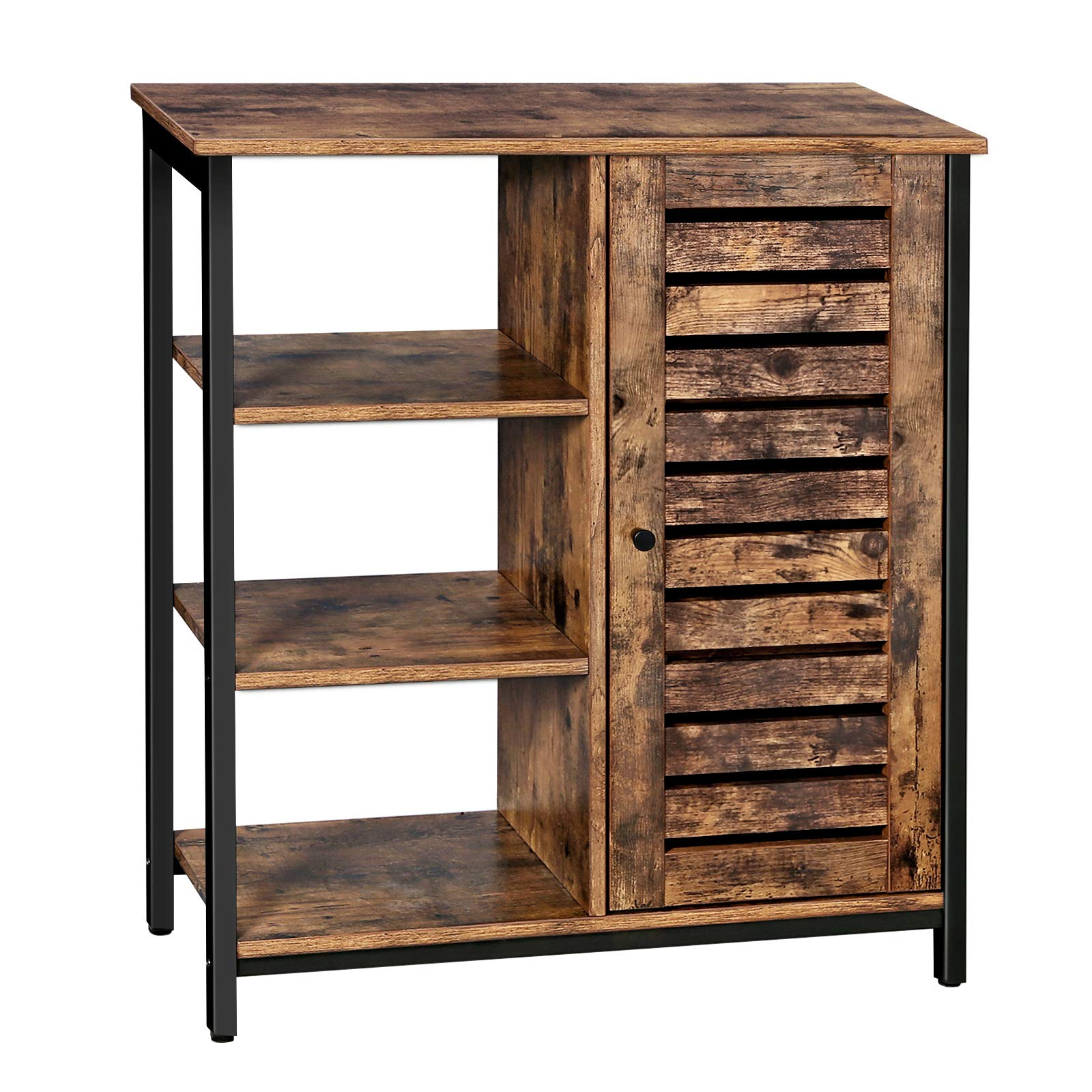 VASAGLE Storage Cabinet, Cupboard, Multipurpose Cabinet, 3 Shelves and a Cabinet with Door, for Kitchen, Living Room, Home Office, Industrial Style, Rustic Brown and Black LSC74BX